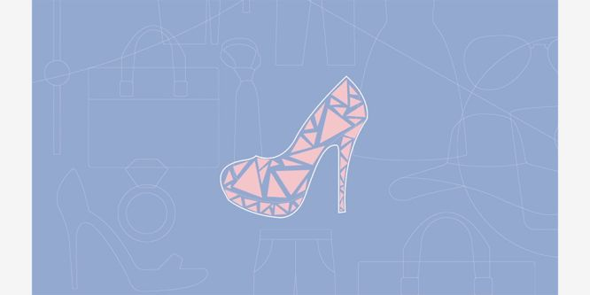 illustration of pink and blue high heel with geometric shapes against blue background