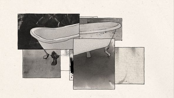 An illustrated collage of a bath tub