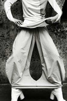 Model in wide trousers