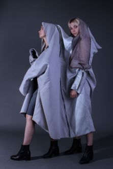 Models in hooded outfits