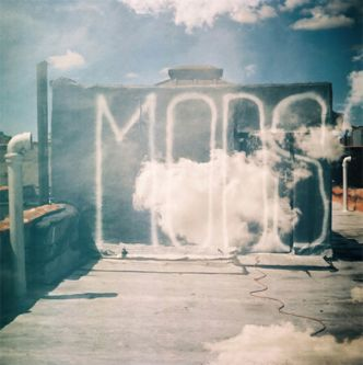 Photograph of a sunlit wall with white graffiti text that reads,