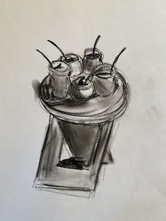 Pencil sketch of a table with cups sitting on top of it