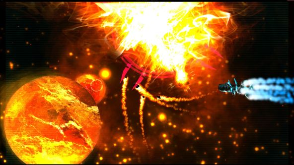 Image from a student-made video game showing a collection of planets and a burning sun and meteorites.
