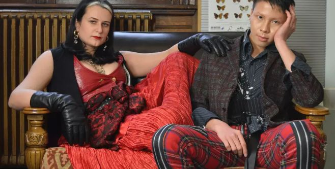 Two people on a sofa