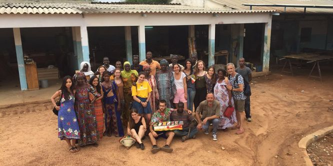 DPS students Ashmi Mridul, Tamara Lewis and Sarah-Louise Bingley in Senegal collaborating with Route Artlantique.