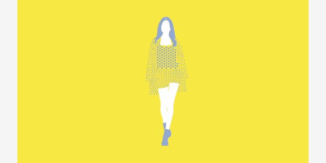 illustration of woman with no face against yellow background. Her face and legs are white, and her hair and shoes are grey. She is wearing a top, shorts and jacket which are made out of dots