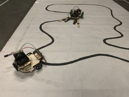 Robots on a track.