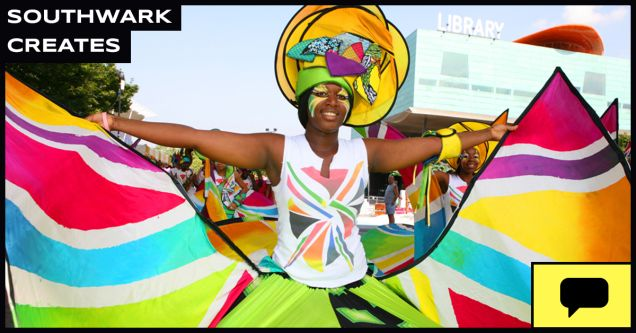 Student work for Southwark Council showing a woman at carnival with colourful clothing.