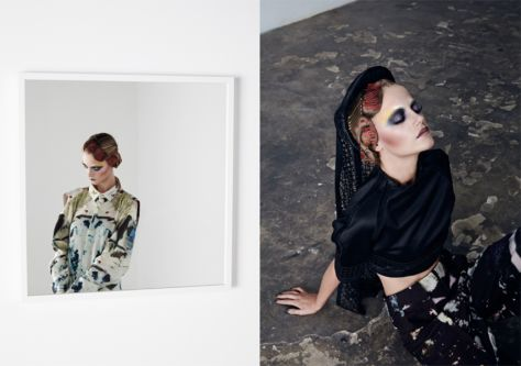 Two images of models posing in highly patterned clothing and makeup.