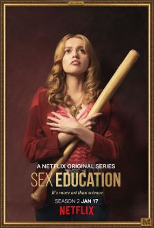 A promotional portrait of Aimee from the Netflix series, Sex Education, holding a baseball bat.