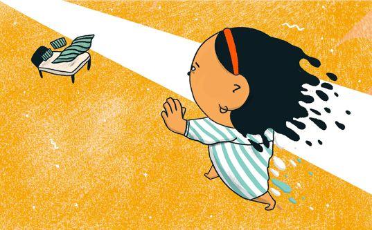 Illustration of girl running after a bird
