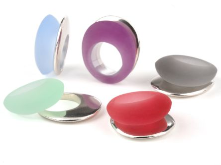 Sarah King's jewellery design, silver and coloured shape rings.