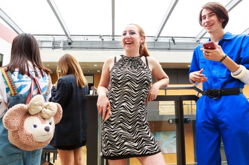 Students laughing at the Summer Study Abroad Fashion Show at Central Saint Martins