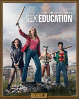 A promotional portrait of four female characters from the Netflix series, Sex Education, holding baseball bats.