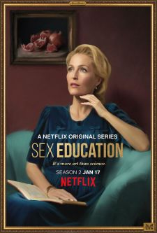 A promotional portrait of Jean from the Netflix series, Sex Education, played by Gillian Anderson.