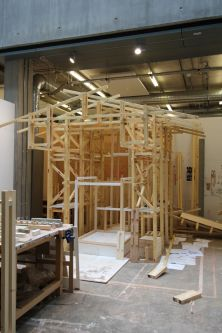Timber structure within studio