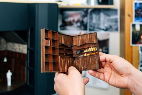 Miniature model of a cabinet.