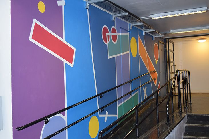 The ramp side wall of the mural