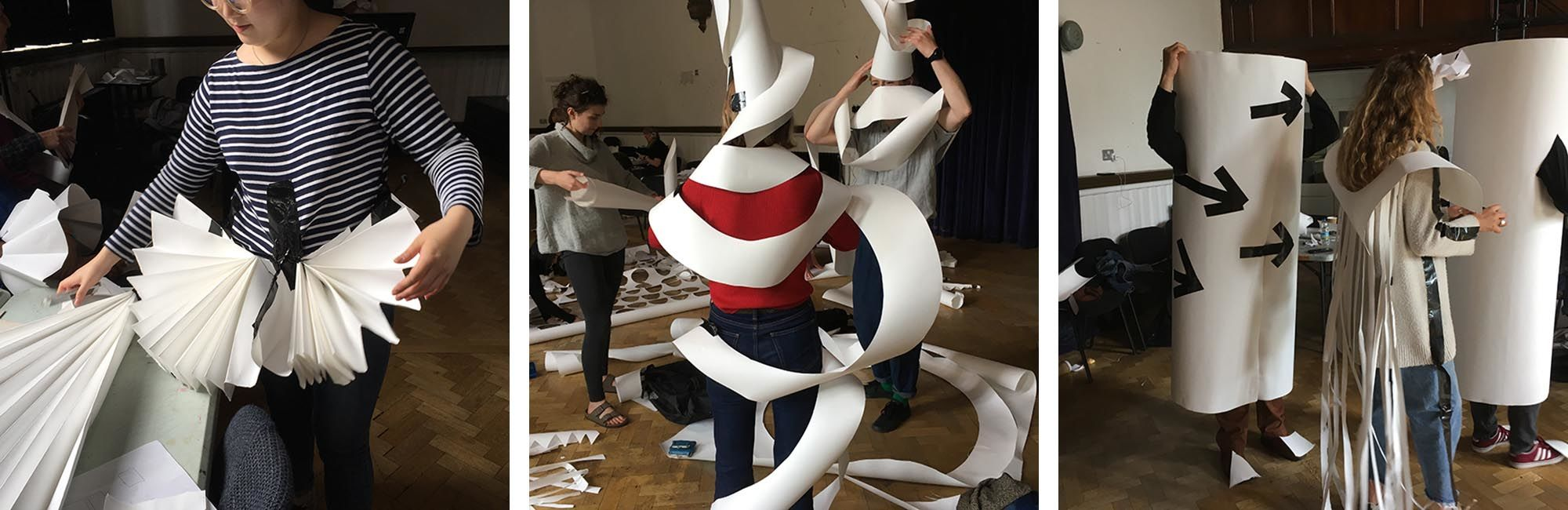 Students experiment with paper to create costumes inspired by Xanti Schawinsky's Play Life Illusion during an Open Stage programme workshop at Camberwell in the autumn term.
