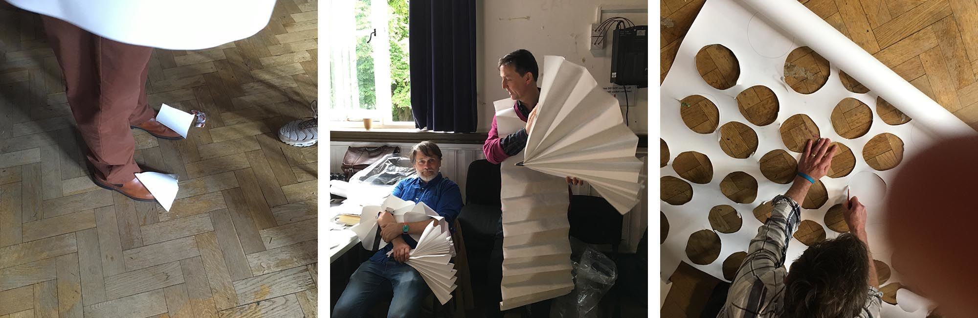 Staff and students experiment with paper to create costumes inspired by Xanti Schawinsky's Play Life Illusion during an Open Stage programme workshop at Camberwell in the autumn term.