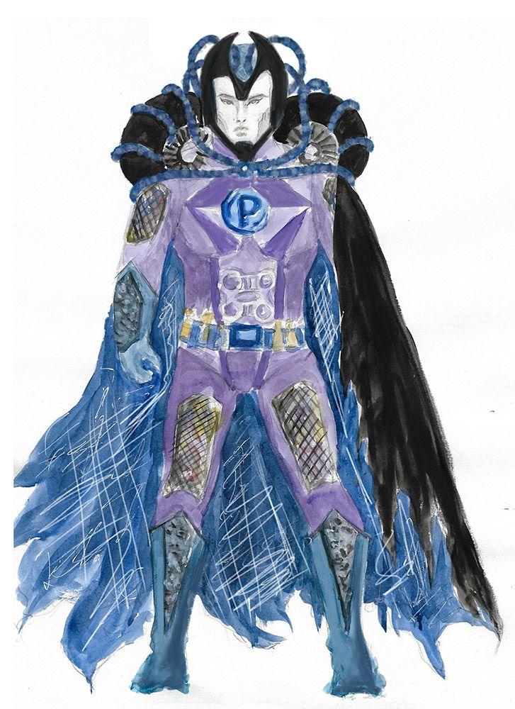 The design for super villain Plastico's costume