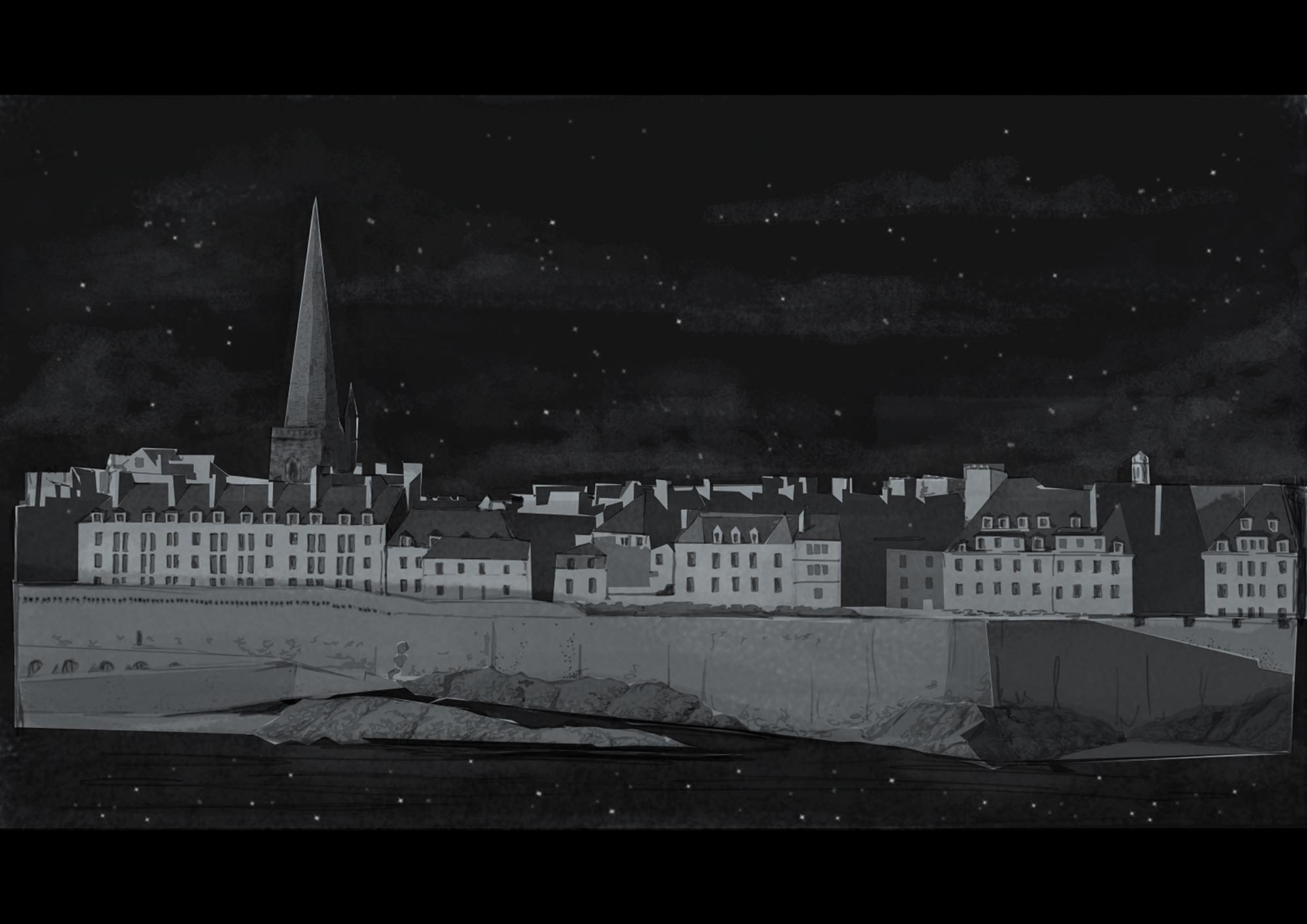 Digitally painted still of scene showing St. Malo taken from Avni's self-directed project, completed in her final year, based on the book All the Light We Cannot See by Anthony Doerr.