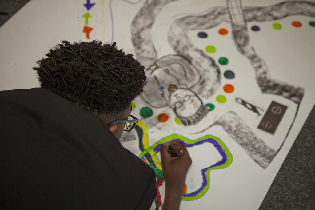 BA Drawing students workshop at Leytonstone School