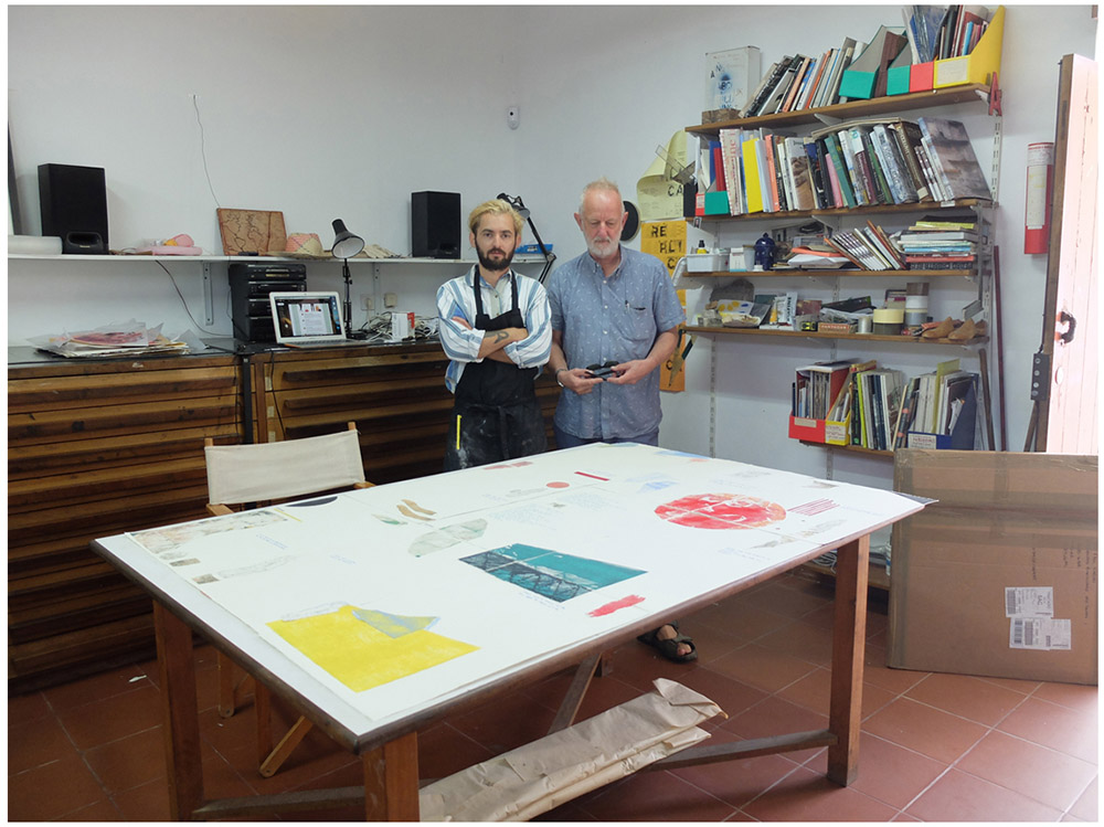 Paul Warski and Professor Paul Coldwell in the studio