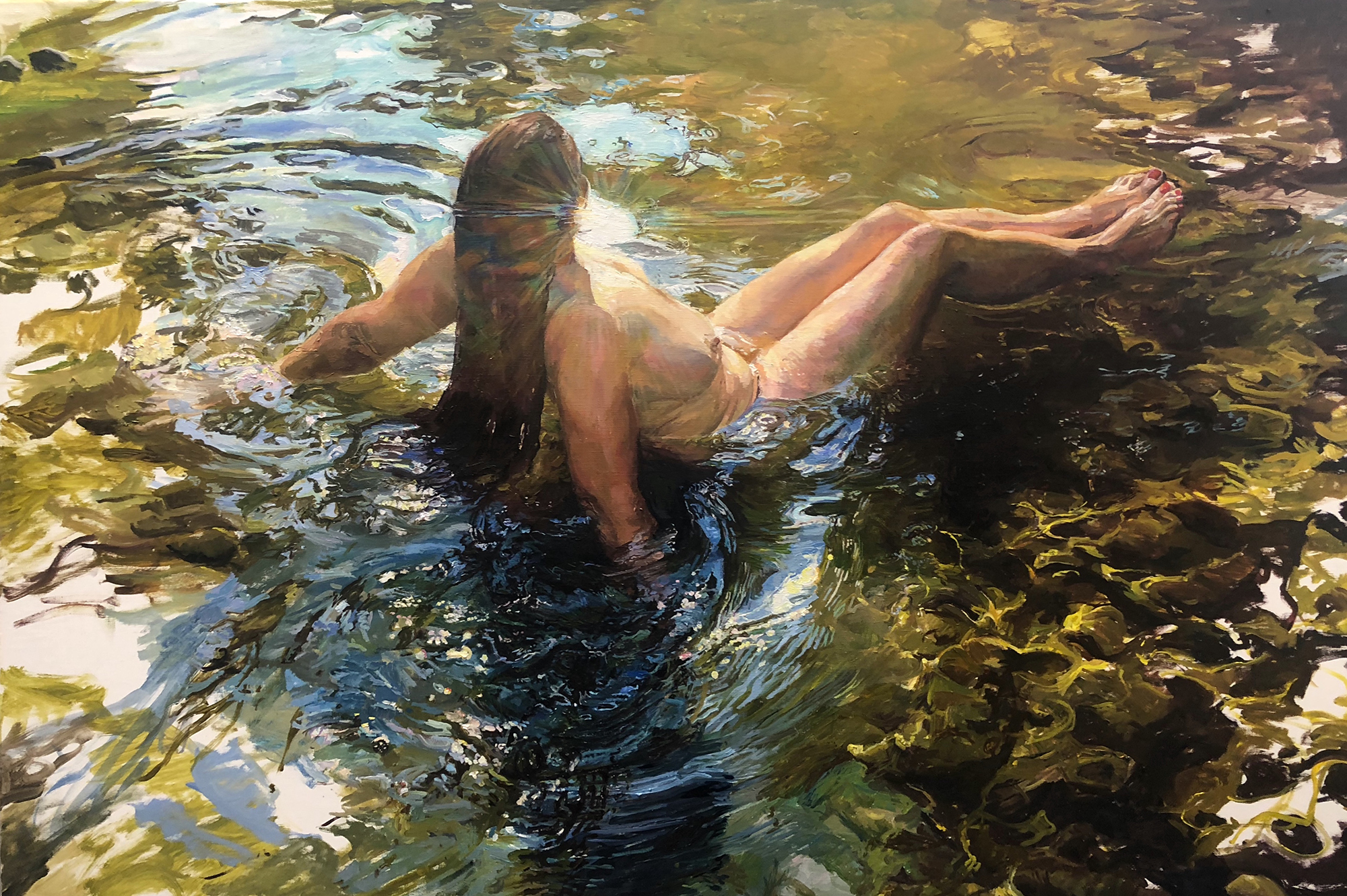An oil painting of a naked woman sitting in water in the sunshine