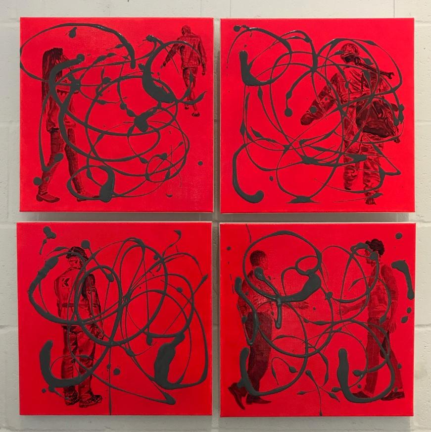 Andrea Coltman Diaspora v, vi, vii, vii acrylic and oil on canvas