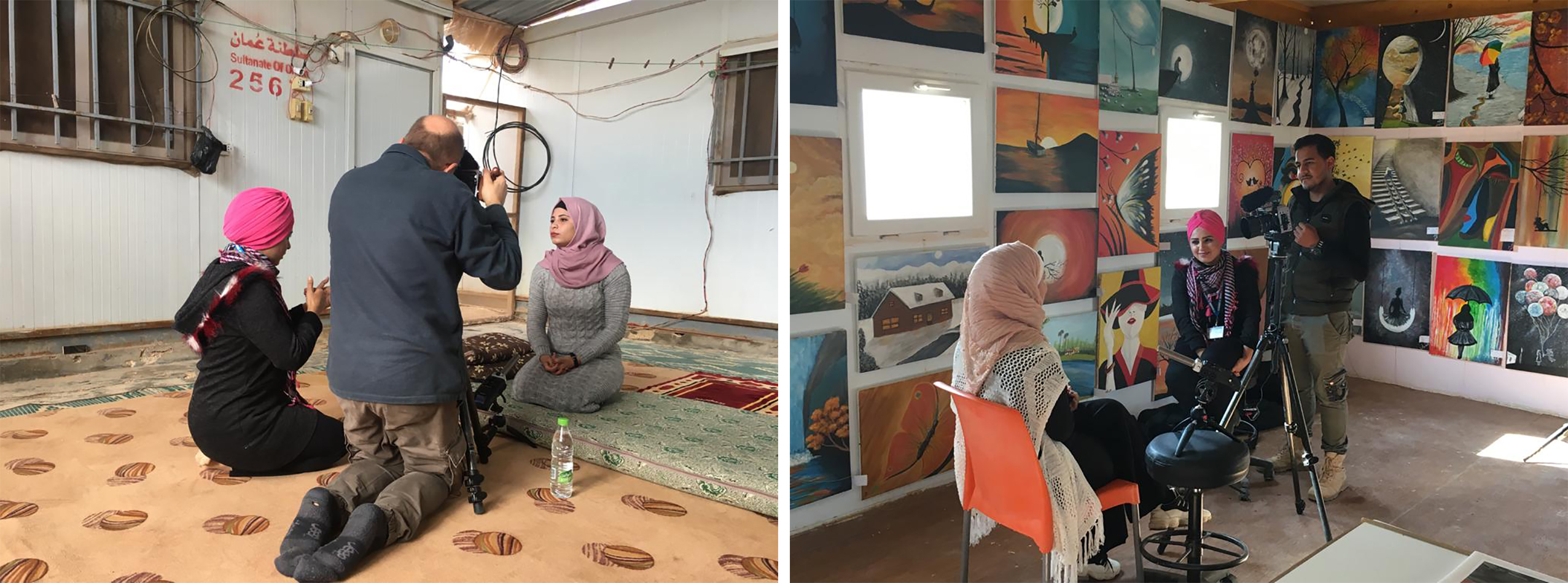 Youseff filming girls in zaatari refugee camp