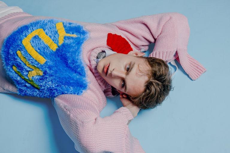 Having a lie down after shopping at Covent Garden. Collaborative piece by: Wei Yao Lin, BA (Hons) Fashion Design Technology: Menswear and Cheng Qian, BA (Hons) Fashion Textiles: Knit. Photographer: Jiajie Lin