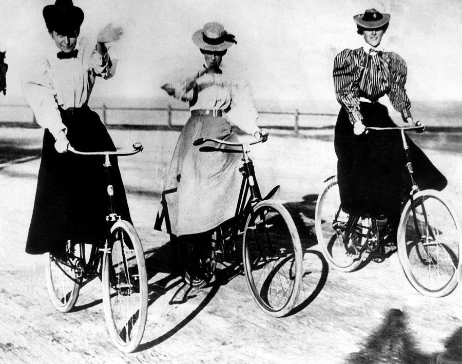 3 women riding bicycles, circa 1900