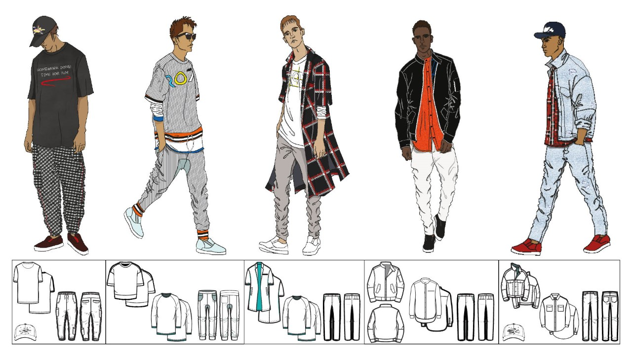 Clothing design illustrations from Matan Gluck's Puma Design Sprint Portfolio
