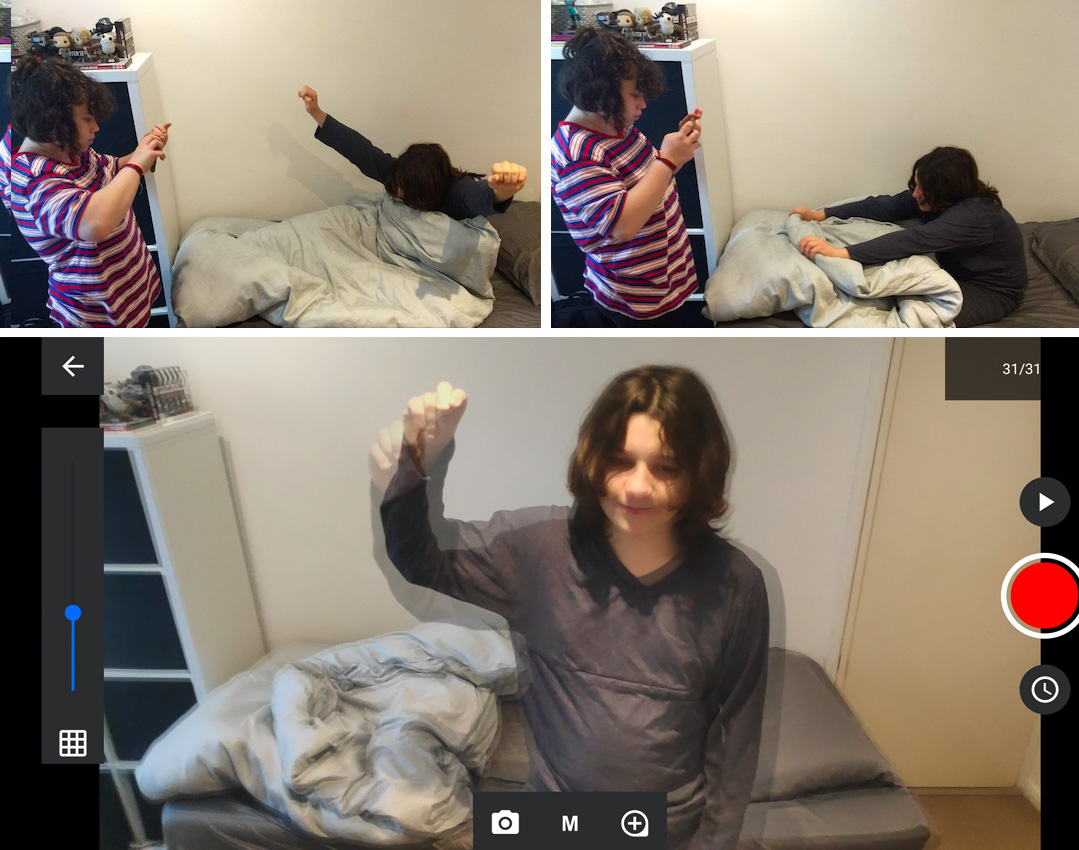 Montage of images showing girl waking up from sleep for pixelation sequence