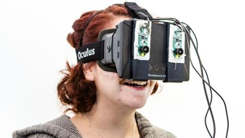 A person wearing VR goggles