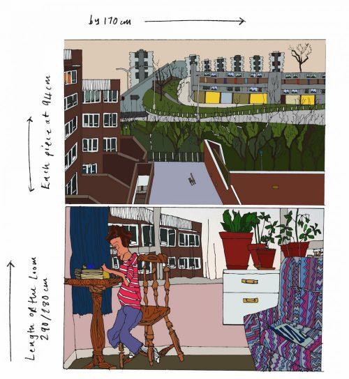 Dharma Taylor – three piece tapestry 2016 – loom length