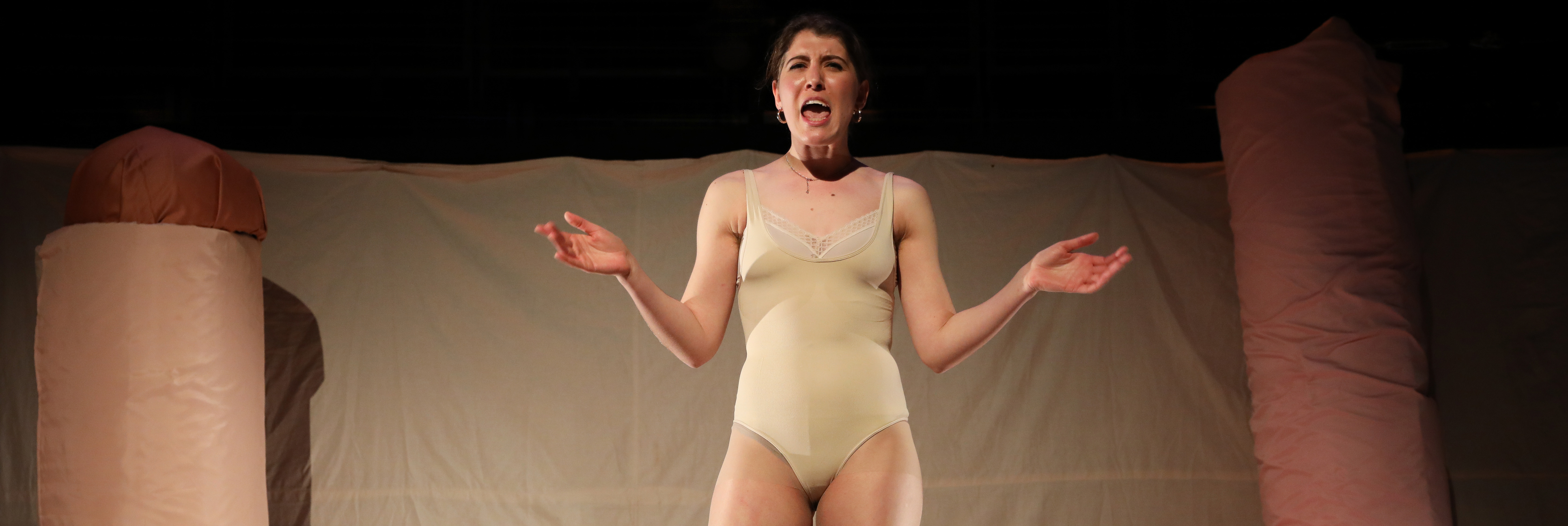 Image from theatre performance of 'Reach Out and Touch Me'