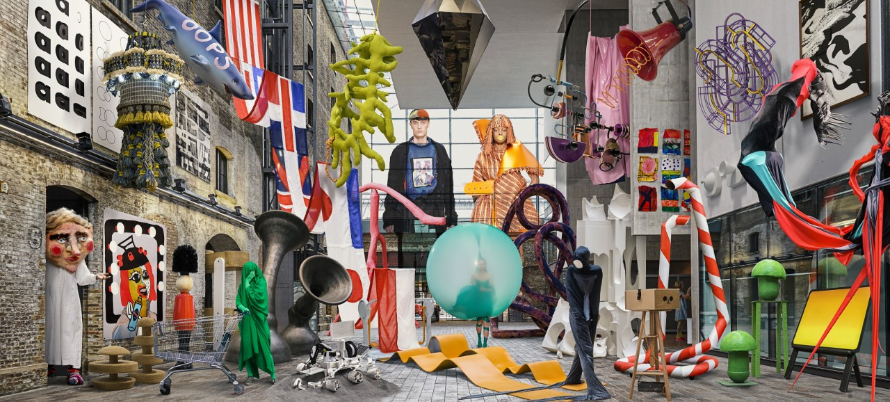 Composite photograph of interior space filled with artworks, sculptures and objects