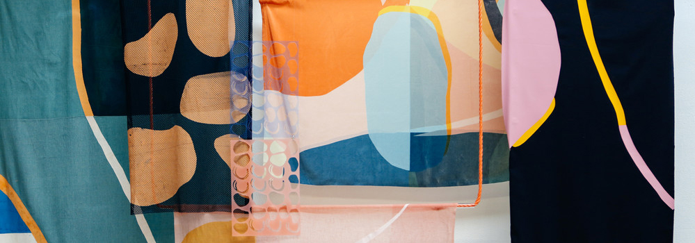 abstract pattern on hanging textiles