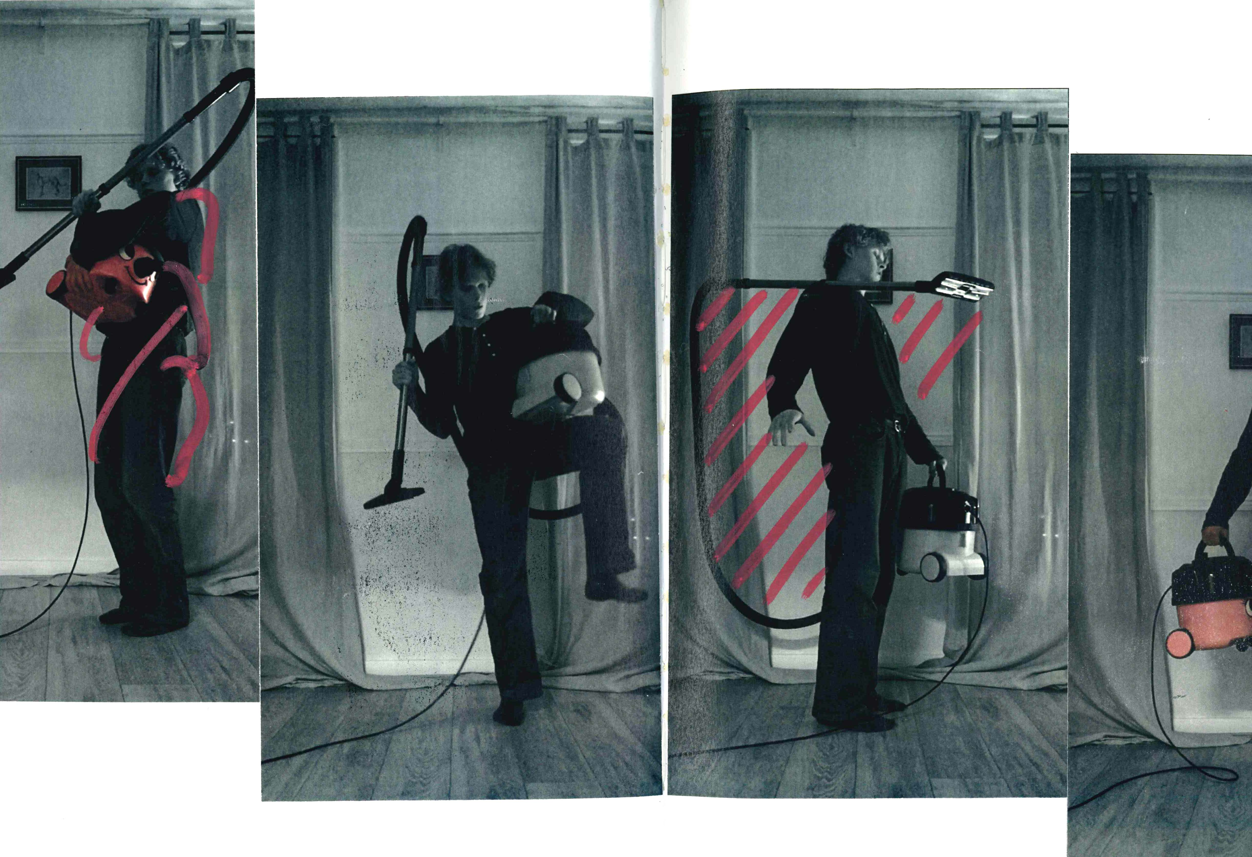 Series of photographs of man wrapped in hoover