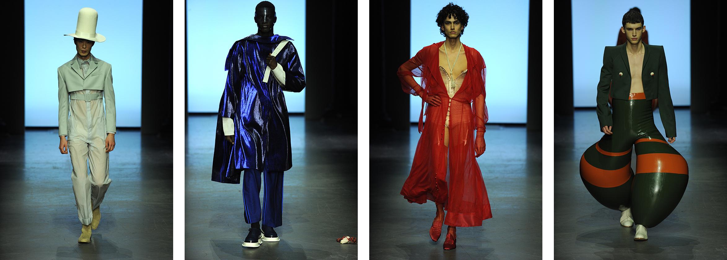 Male models on catwalk