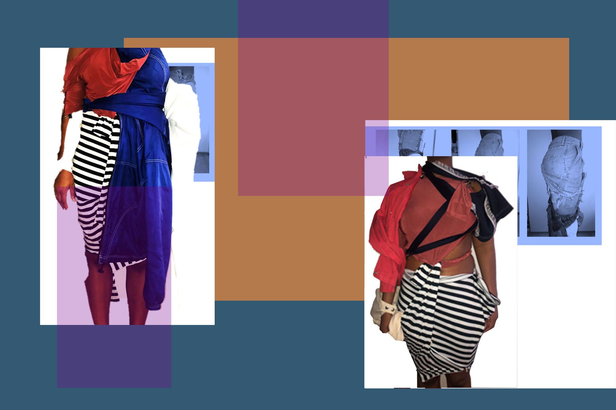 2 fashion drape experiments on female body