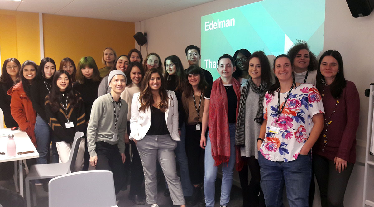 A class of students on the MA Public Relations course are photographed at Edelman London.