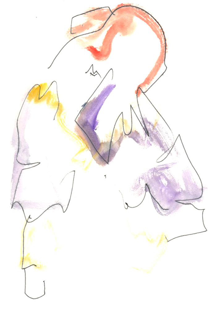 Megan-Ruth St Clair Morgan, BA (Hons) Fashion Illustration – illustration of Sofia Ilmonen, BA (Hons) Womenswear, Jinhee Moon, BA (Hons) Womenswear, and Mengna Ye, BA (Hons) Womenwear.