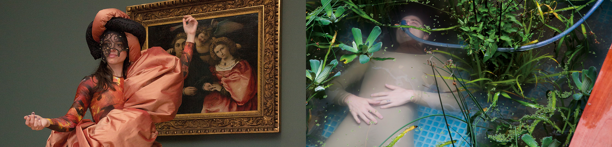Model in costume posing in front of museum portrait (left) display featuring a person submerged under water (right)
