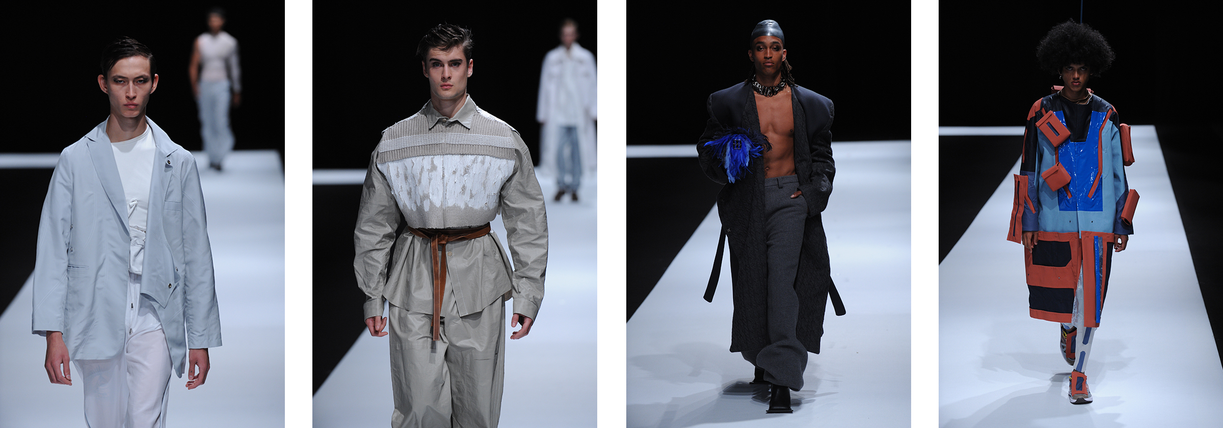 Four images of male models in menswear clothing