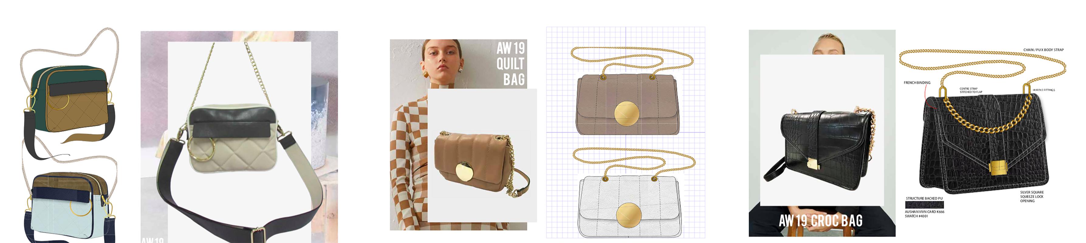 Collage of handbag design prototypes