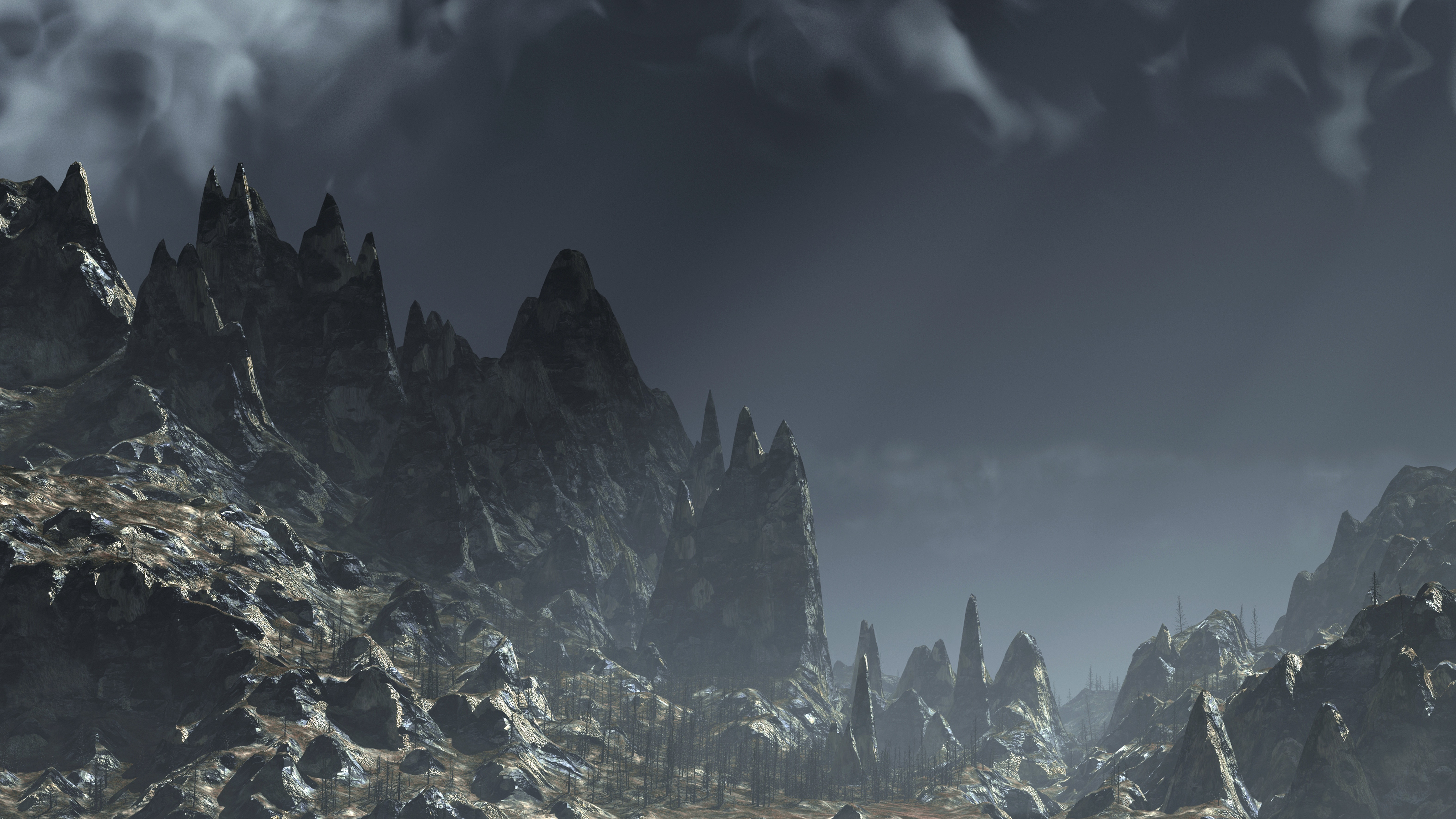 a barren mountain landscape CGI