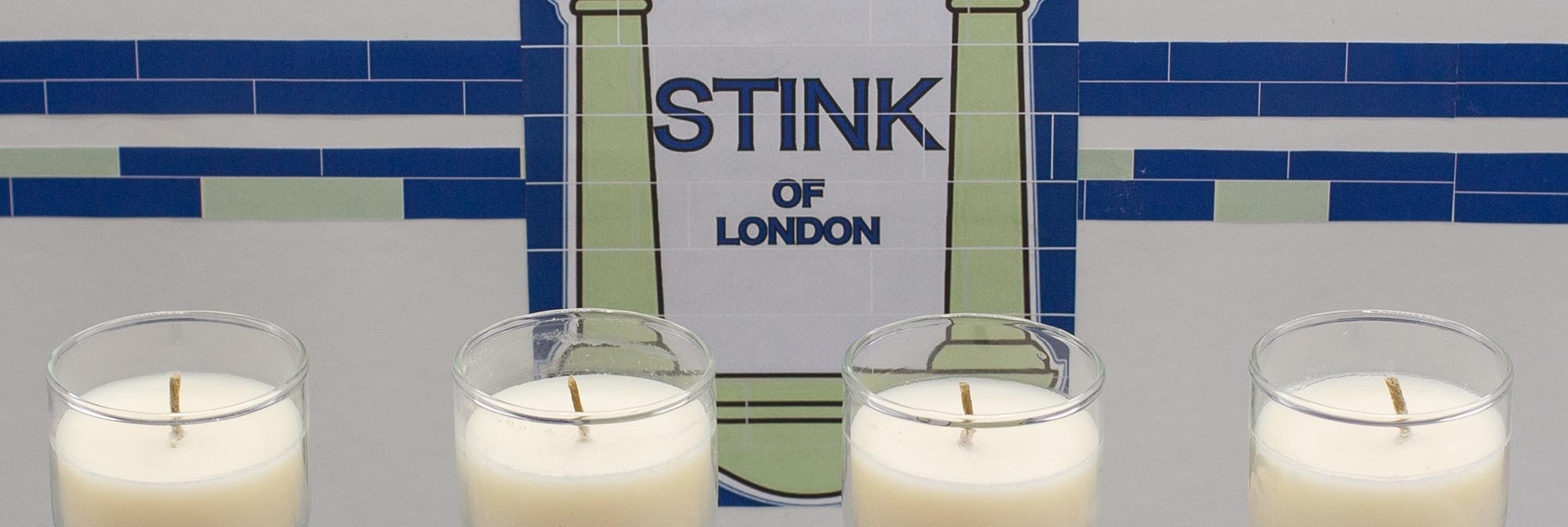 Detail of printed box which looks like a tiled tube entrance accompanied by the words Stink of London